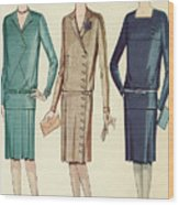 Three Flappers Modelling French Designer Outfits, 1928 Wood Print