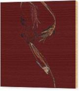 Three Flowers And Leaf Wood Print
