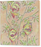 Three Flowers Wood Print