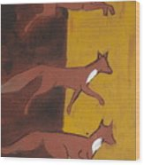 Three Foxes Running Wood Print