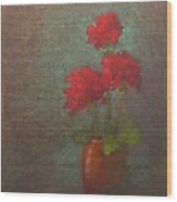 Three Geraniums Wood Print