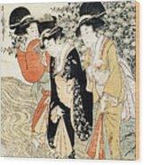 Three Girls Paddling In A River Wood Print by Kitagawa Utamaro