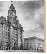 The Three Graces, Liverpool Wood Print