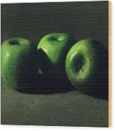 Three Green Apples Wood Print by Frank Wilson