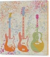 Three Guitars Paint Splatter Wood Print