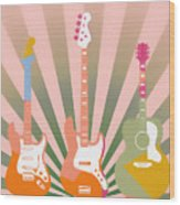 Three Guitars Pop Art Wood Print