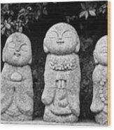 Three Happy Buddhas Wood Print by Dean Harte