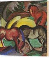 Three Horses 1912 Wood Print