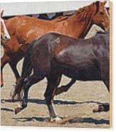 Three Horses Galloping Wood Print