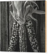 Three Indian Corn In Black And White Wood Print