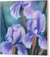 Three Iris Wood Print