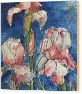 Three  Iris' Wood Print