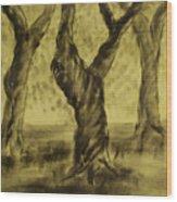 Three Is As Tree Gets Wood Print