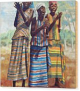 Three Joyful Girls Wood Print