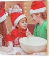 Three Kids Making Christmas Cookies Wood Print