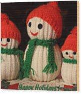 Three Knit Christmas Snowmen Wood Print