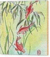 Three Koi Wood Print