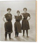 Three Ladies Bathing In Early Bathing Suit On Carmel Beach Early 20th Century. Wood Print