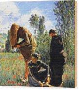 Three Ladies In A Field Wood Print