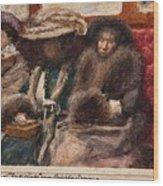 Three Ladies On Carriage Wood Print