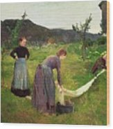 Three Ladies Washing Wood Print