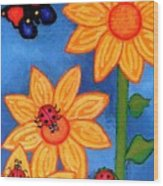Three Ladybugs And Butterfly Wood Print
