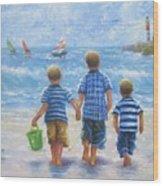 Three Little Beach Boys Walking Wood Print
