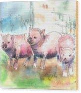 Three Little Pigs Wood Print