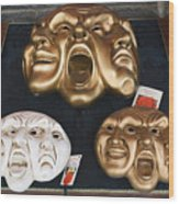 Three Masks For Sale, Venice Wood Print