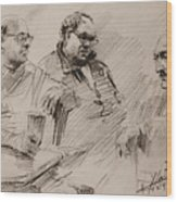 Three Men Chatting Wood Print