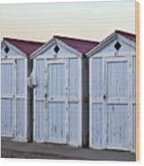 Three Modello Beach Cabanas Wood Print