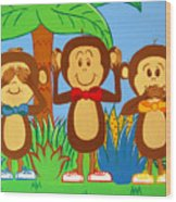 Three Monkeys No Evil Wood Print