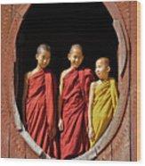 Three Monklets Wood Print