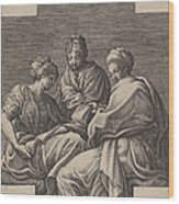 Three Muses And A Gesturing Putto Wood Print