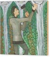 Three Of Pentacles Illustrated Wood Print