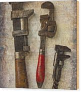 Three Old Worn Wrenches Wood Print