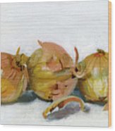 Three Onions Wood Print by Sarah Lynch