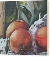 Three Oranges Wood Print