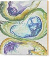 Three Oyster Shells Wood Print