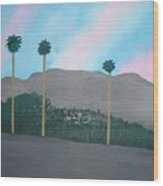 Three Palm Trees In The Desert Wood Print