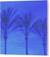Three Palms And One Flag Wood Print