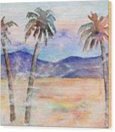 Three Palms Wood Print