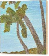 Three Palms At The Beach Wood Print