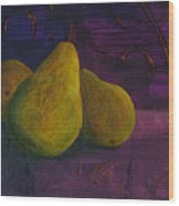 Three Pears Wood Print