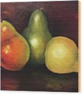 Three Pears  Wood Print