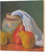 Three Pears With Persian Vase Wood Print
