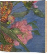 Three Peonies Wood Print
