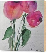 Three Pink Flowers 2 Wood Print