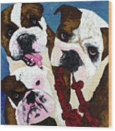 Three Playful Bullies Wood Print