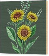 Three Playful Sunflowers Wood Print